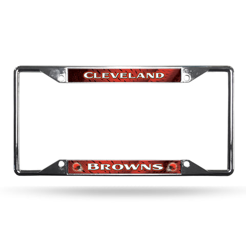 Cleveland Browns License Plate Frame Chrome EZ View