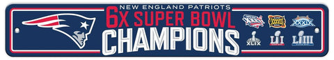 New England Patriots 6X Champions Street Sign