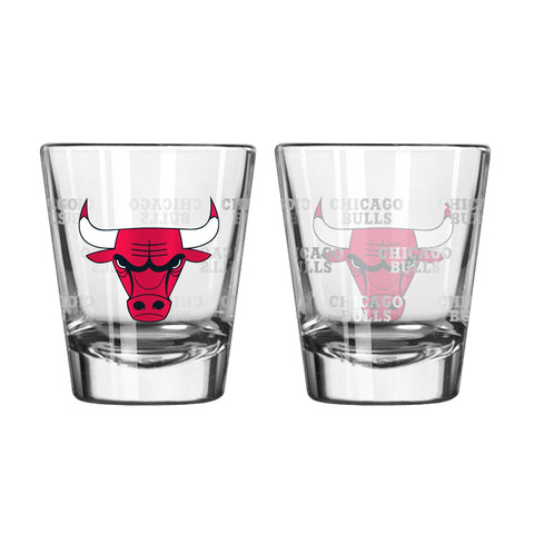 Chicago Bulls 2Oz Satin Etch Shot Glasses