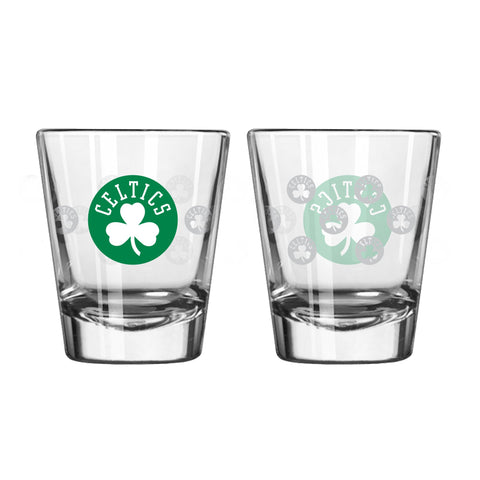 Boston Celtics 2Oz Satin Etch Shot Glasses