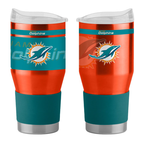 Miami Dolphins 24Oz Ultra Twist Tumblers - 18/8 Steel Vacuum Insulated With High Lip Slider Lid