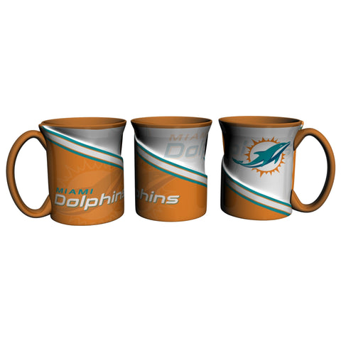 Miami Dolphins 18Oz Sculpted Ceramic Twist Mugs
