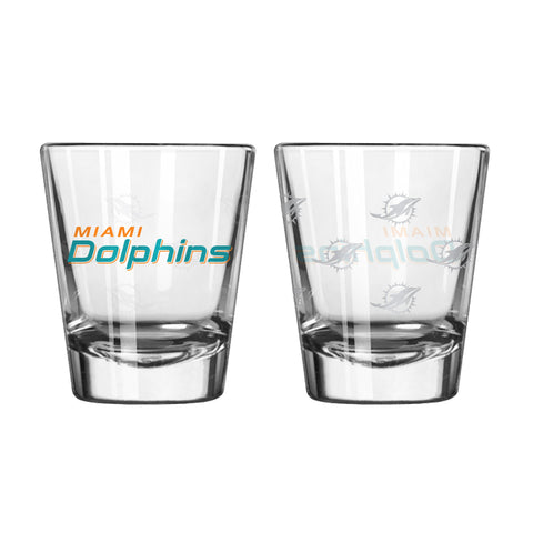 Miami Dolphins 2Oz Satin Etch Shot Glasses