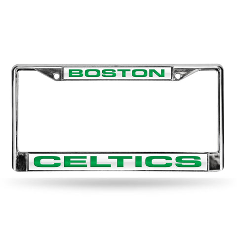 Celtics Laser Chrome Frame  - White Background With Green Letters