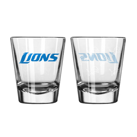 Detroit Lions 2Oz Satin Etch Shot Glasses
