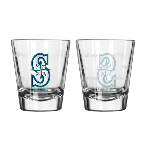Seattle Mariners 2Oz Satin Etch Shot Glasses