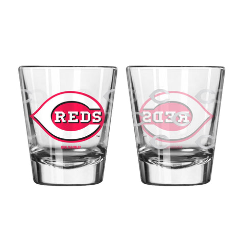 Cincinnati Reds 2Oz Satin Etch Shot Glasses
