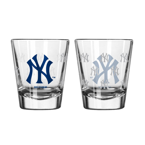 New York Yankees 2Oz Satin Etch Shot Glasses
