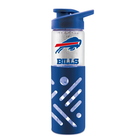 BUFFALO BILLS GLASS WATER BOTTLE W SILICON PROTECTOR SLEEVE 23 OZ