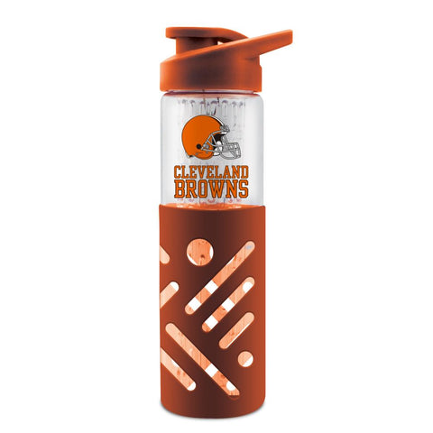 CLEVELAND BROWNS GLASS WATER BOTTLE W SILICON PROTECTOR SLEEVE 23 OZ