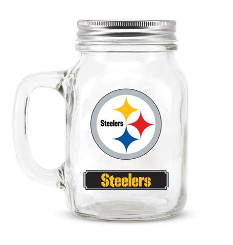 PITTSBURGH STEELERS GLASS MASON JAR W/LID - 20 oz