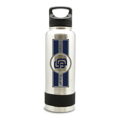 SAN DIEGO PADRES SS STAINLESS STEEL DOUBLE WALL INSULATED THERMO WATER BOTTLE  - (34 oz)