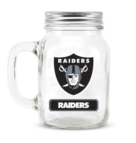 OAKLAND RAIDERS GLASS MASON JAR W/LID - 20 oz