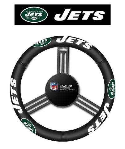 NFL New York Jets Leather Steering Wheel Cover