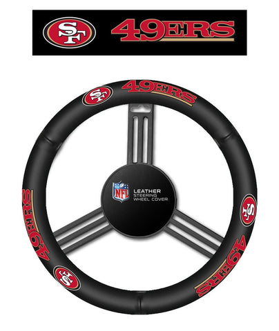 NFL San Francisco 49ers Leather Steering Wheel Cover