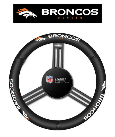 NFL Denver Broncos Leather Steering Wheel Cover
