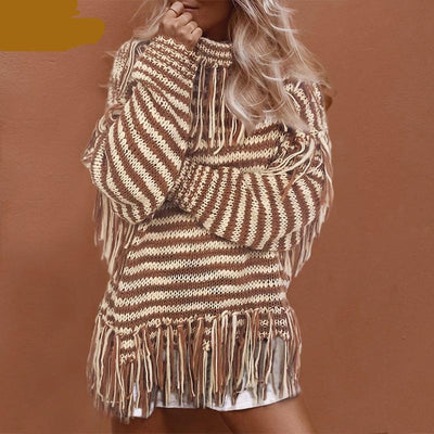 High-neck Tassel Bohemian Sweater Women