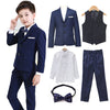 5pcs/set Boys Blazer Suits set (suit+pant+vest+shirt+tie)