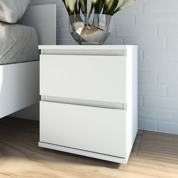 NOVA 2 DRAWER BEDSIDE TABLE - 3 COLOURS