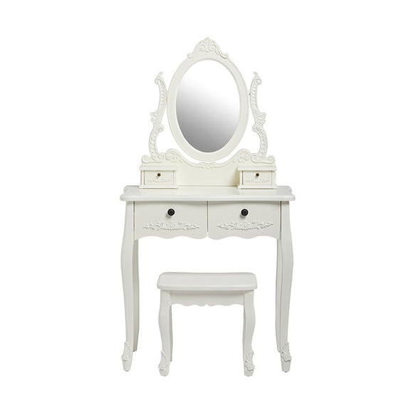 ANTOINETTE DRESSING TABLE + STOOL - WHITE