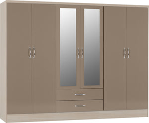 NEVADA 6 DOOR WARDROBE ( 4 COLOURS )