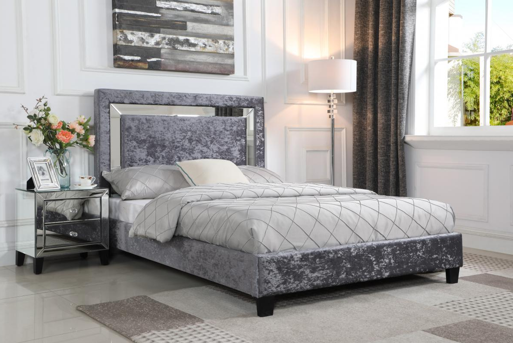 AUGUSTINA DOUBLE OR KING BED -  SILVER CRUSHED & MIRROR HEADBOARD