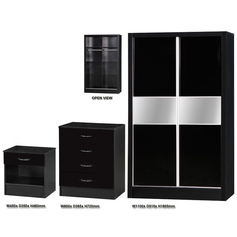 ALPHA BLACK GLOSS SLIDING WARDROBE SET