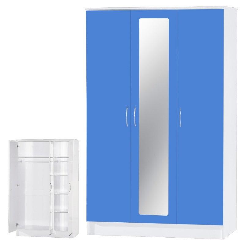 ALPHA 3 DR BEDROOM SET - MIRROR - GLOSS BLUE/WHITE