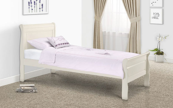 AMELIA SINGLE SLEIGH BED - STONE WHITE