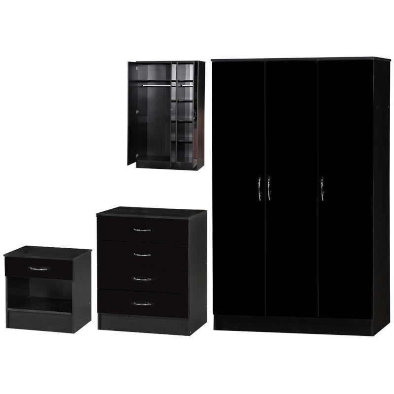 ALPHA 3 DR BLACK GLOSS BEDROOM SET