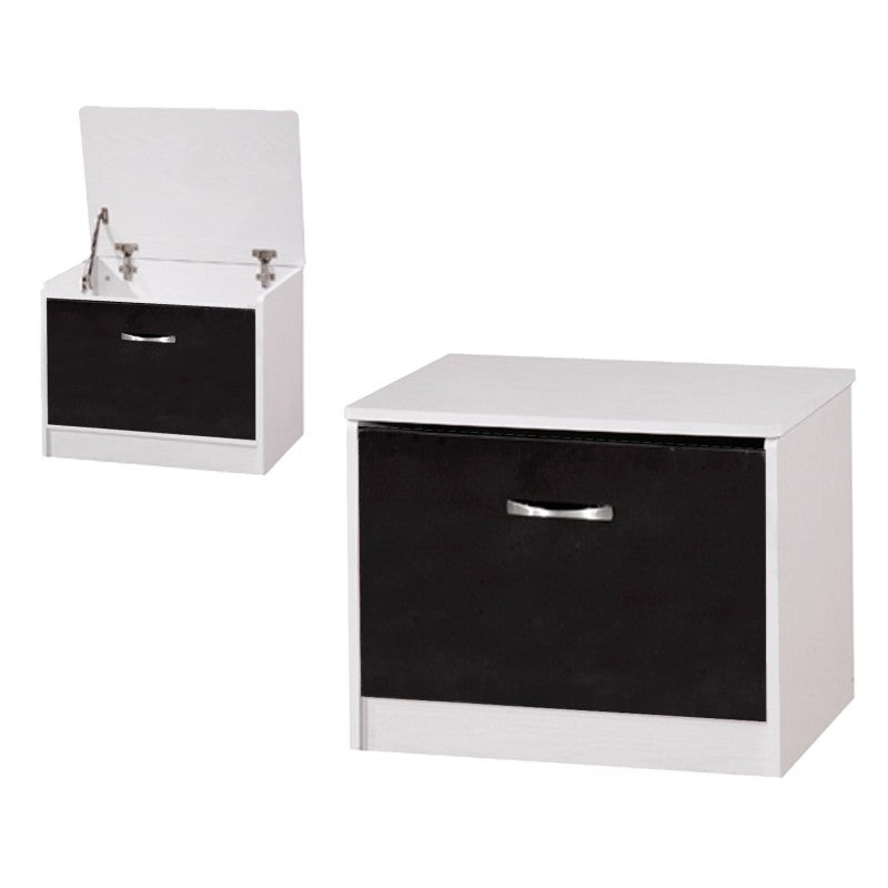 OTTOMAN STORAGE STOOL - GLOSS BLACK/WHITE