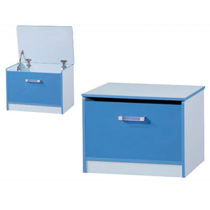 OTTOMAN STORAGE STOOL - BLUE GLOSS/BLUE