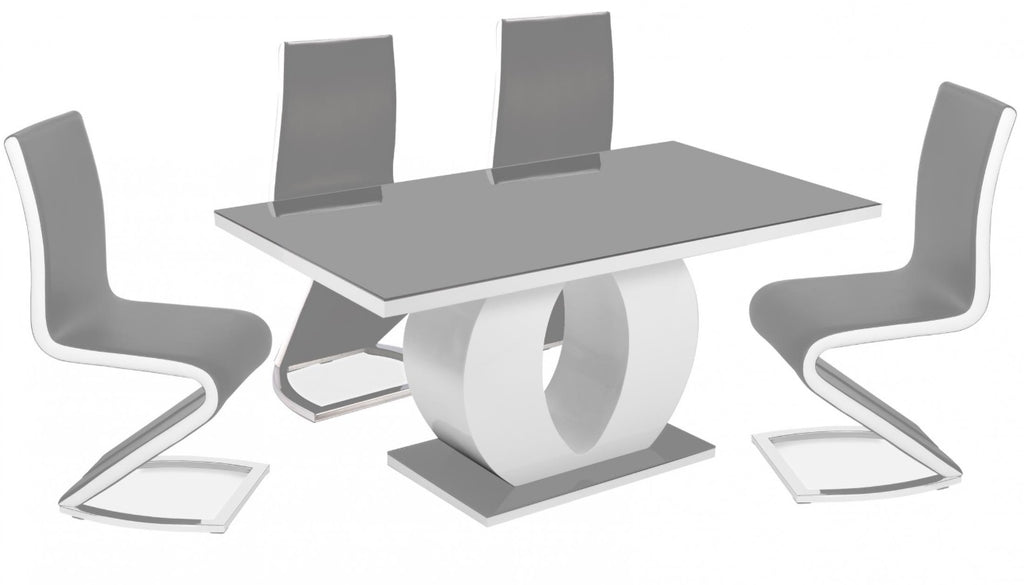 EDENHALL 4 SEATER DINING SET - GREY/WHITE