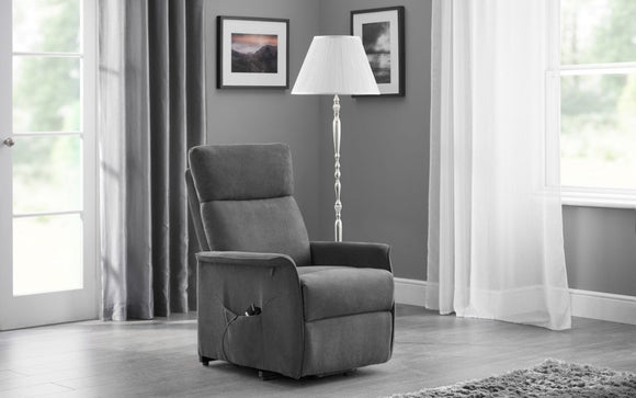 HELENA RISE & RECLINE CHAIR - CHARCOAL FABRIC