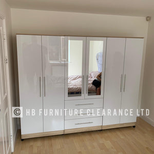 6 DOOR FITMENT WARDROBE - 4 COLOURS