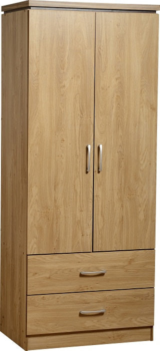CHARLES 2 DOOR WARDROBE - OAK EFFECT VENEER