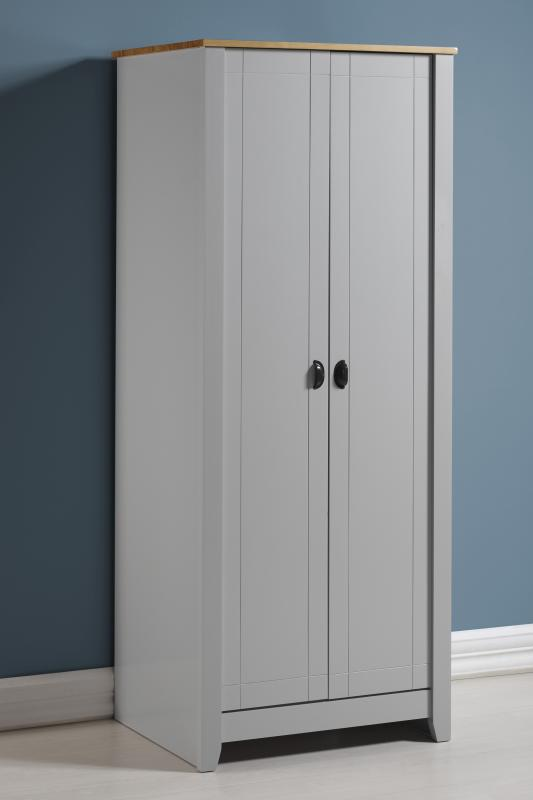 LUDLOW 2 DOOR WARDROBE - WHITE OR GREY