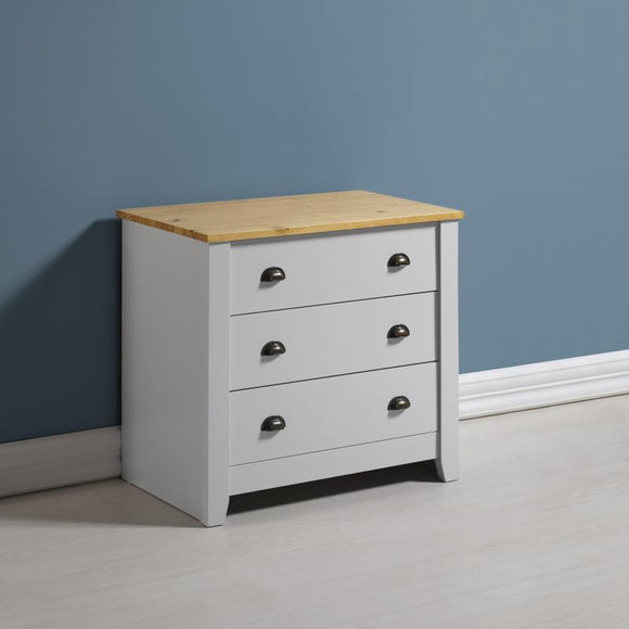 LUDLOW 3 DRAWER CHEST - GREY OR WHITE