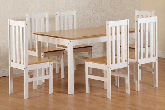 LUDLOW DINING SET - 6 CHAIRS - WHITE