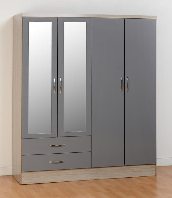 NEVADA 4 DOOR WARDROBE - 3 COLOURS