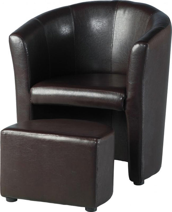 TEMPO TUB CHAIR WITH FOOTSTOOL - BROWN