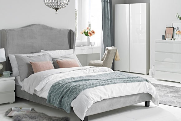CHATEAUX WING BED - DOUBLE - SILVER