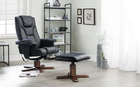 MALMO MASSAGE RECLINER & STOOL - BLACK OR BROWN