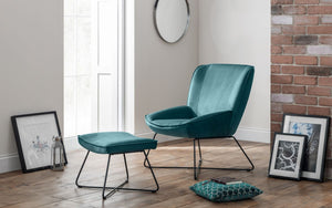 MILA VELVET ACCENT CHAIR & STOOL - GREY OR TEAL VELVET