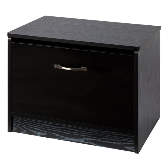 OTTOMAN STORAGE STOOL - BLACK GLOSS/BLACK
