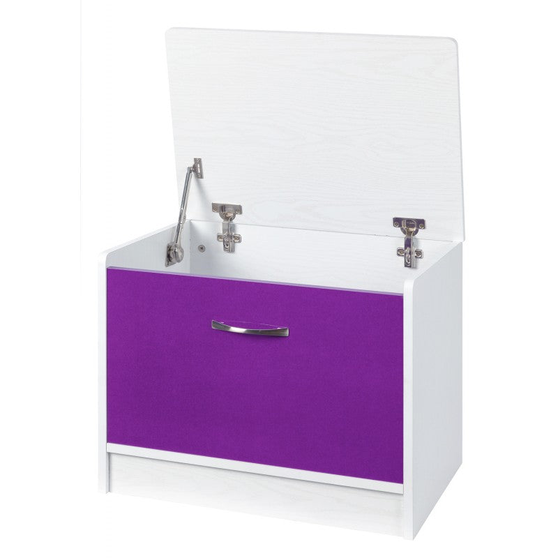 OTTOMAN STORAGE STOOL - PURPLE GLOSS/WHITE