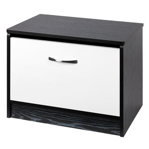 OTTOMAN STORAGE STOOL - WHITE GLOSS/BLACK ASH
