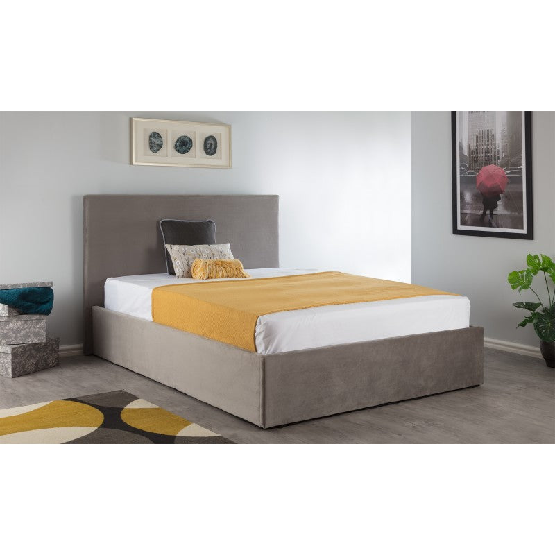 BOSTON DOUBLE OTTOMAN BED - BRUSHED STEEL VELVET