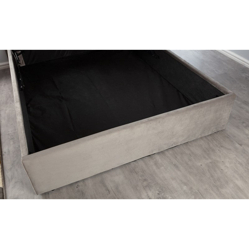 BOSTON KINGSIZE GAS LIFT BEDFRAME - GREY BRUSHED VELVET