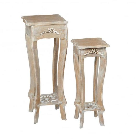 PROVENCE SET OF TWO PLANT STANDS/LAMP TABLES